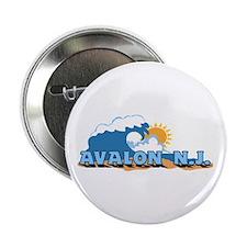 "Avalon NJ - Waves Design 2.25"" Button"