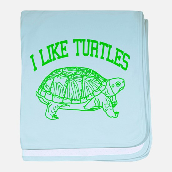 I Like Turtles - baby blanket