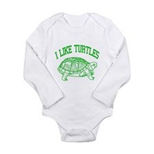 I Like Turtles - Long Sleeve Infant Bodysuit