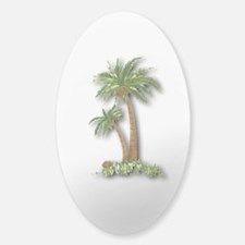 Twin palms Sticker (Oval 10 pk)