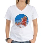 Santa Up On the Rooftop Women's V-Neck T-Shirt