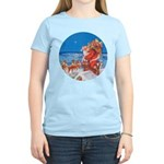Santa Up On the Rooftop Women's Light T-Shirt