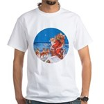 Santa Up On the Rooftop White T-Shirt