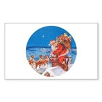 Santa Up On the Rooftop Sticker (Rectangle 10 pk)