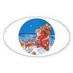 Santa Up On the Rooftop Sticker (Oval)