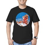 Santa Up On the Rooftop Men's Fitted T-Shirt (dark