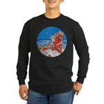 Santa Up On the Rooftop Long Sleeve Dark T-Shirt