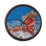 Santa Up On the Rooftop Large Wall Clock