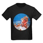 Santa Up On the Rooftop Kids Dark T-Shirt