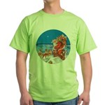 Santa Up On the Rooftop Green T-Shirt