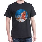 Santa Up On the Rooftop Dark T-Shirt