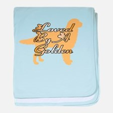 Loved By A Golden baby blanket
