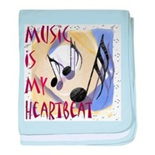 Music is My Heartbeat baby blanket
