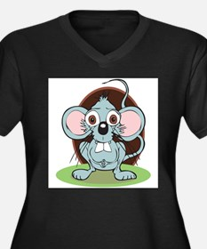 The Worried Mouse Women's Plus Size V-Neck Dark T-