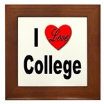 I Love College Framed Tile
