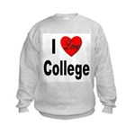 I Love College (Front) Kids Sweatshirt