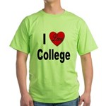 I Love College (Front) Green T-Shirt