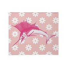 Pink Sailfish Throw Blanket