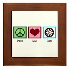 Peace Love Darts Framed Tile