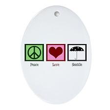 Peace Love Seattle Ornament (Oval)