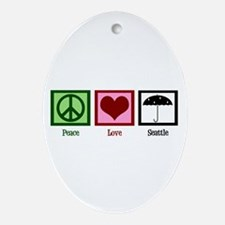 Peace Love Seattle Ornament (Oval)