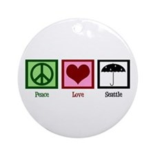 Peace Love Seattle Ornament (Round)