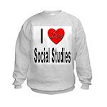 I Love Social Studies (Front) Kids Sweatshirt