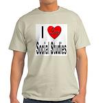 I Love Social Studies (Front) Ash Grey T-Shirt