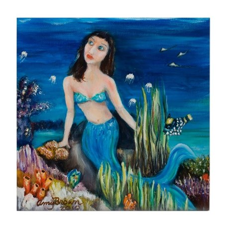 mermaid under the midnight sk Tile Coaster