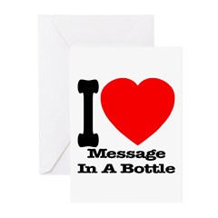 I (Heart) Message In A Bottle Greeting Cards (Pk o
