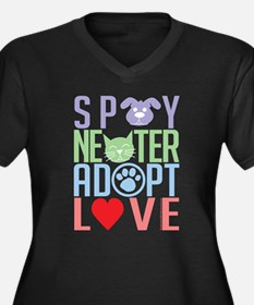 Spay Neuter Adopt Love 2 Women's Plus Size V-Neck
