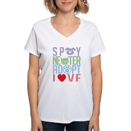 Spay Neuter Adopt Love 2 Women's V-Neck T-Shirt