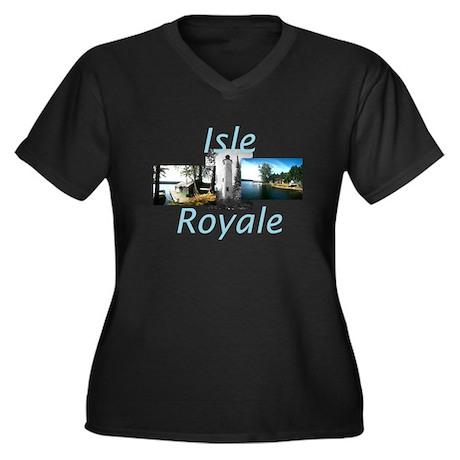 ABH Isle Roy Women's Plus Size V-Neck Dark T-Shirt