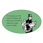 Post Christmas B-Day Gift Sticker (Oval)
