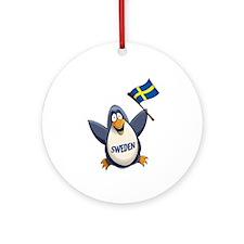 Sweden Penguin Ornament (Round)