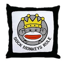 Sock Monkeys Rule Throw Pillow