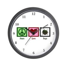 Peace Love Bugs Wall Clock