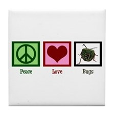 Peace Love Bugs Tile Coaster