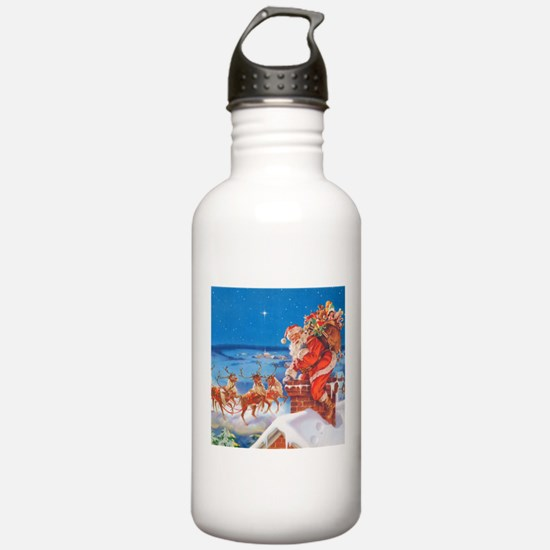 Santa Up On the Rooftop Water Bottle