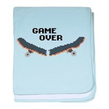 game over skateboard baby blanket