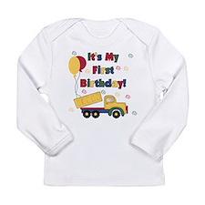 Dump Truck 1st Birthday Long Sleeve Infant T-Shirt