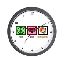 Peace Love Thanksgiving Wall Clock