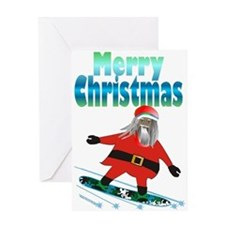 Snowboard Santa /Greeting Card