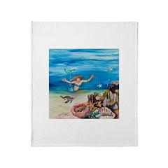 Mermaid with sea turtles Throw Blanket