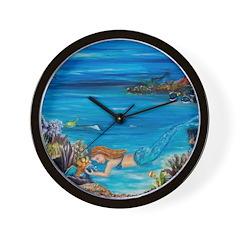 mermaid and her fish Wall Clock