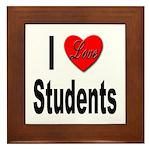 I Love Students Framed Tile