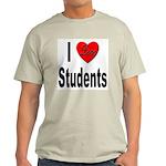 I Love Students (Front) Ash Grey T-Shirt