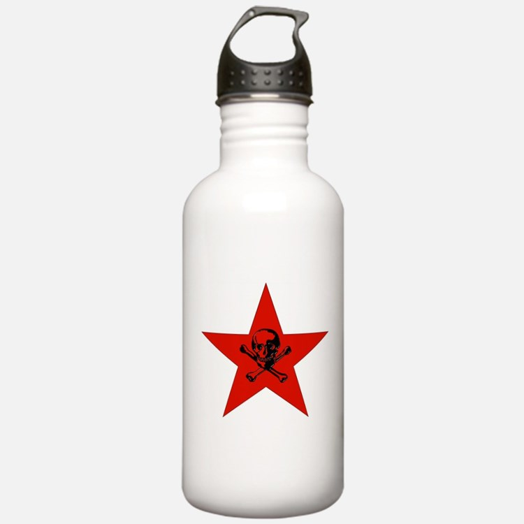 Red Star and Skull Sports Water Bottle
