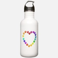 Cat Print Heart Water Bottle