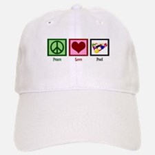 Peace Love Pool Baseball Baseball Cap